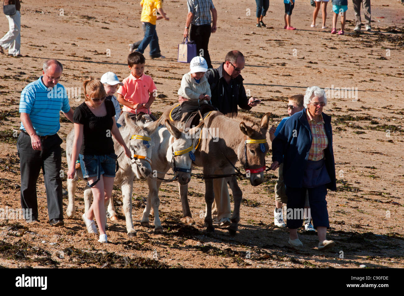 Donkey rides on the beach, the seaside resort of Llandudno, Wales, UK Stock Photo