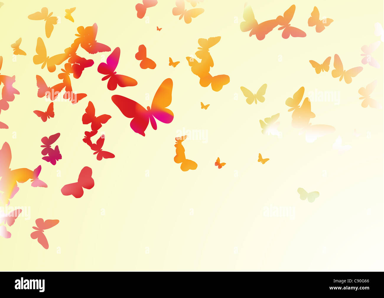illustration of many colorful butterflies of different forms flying around - Stock Image
