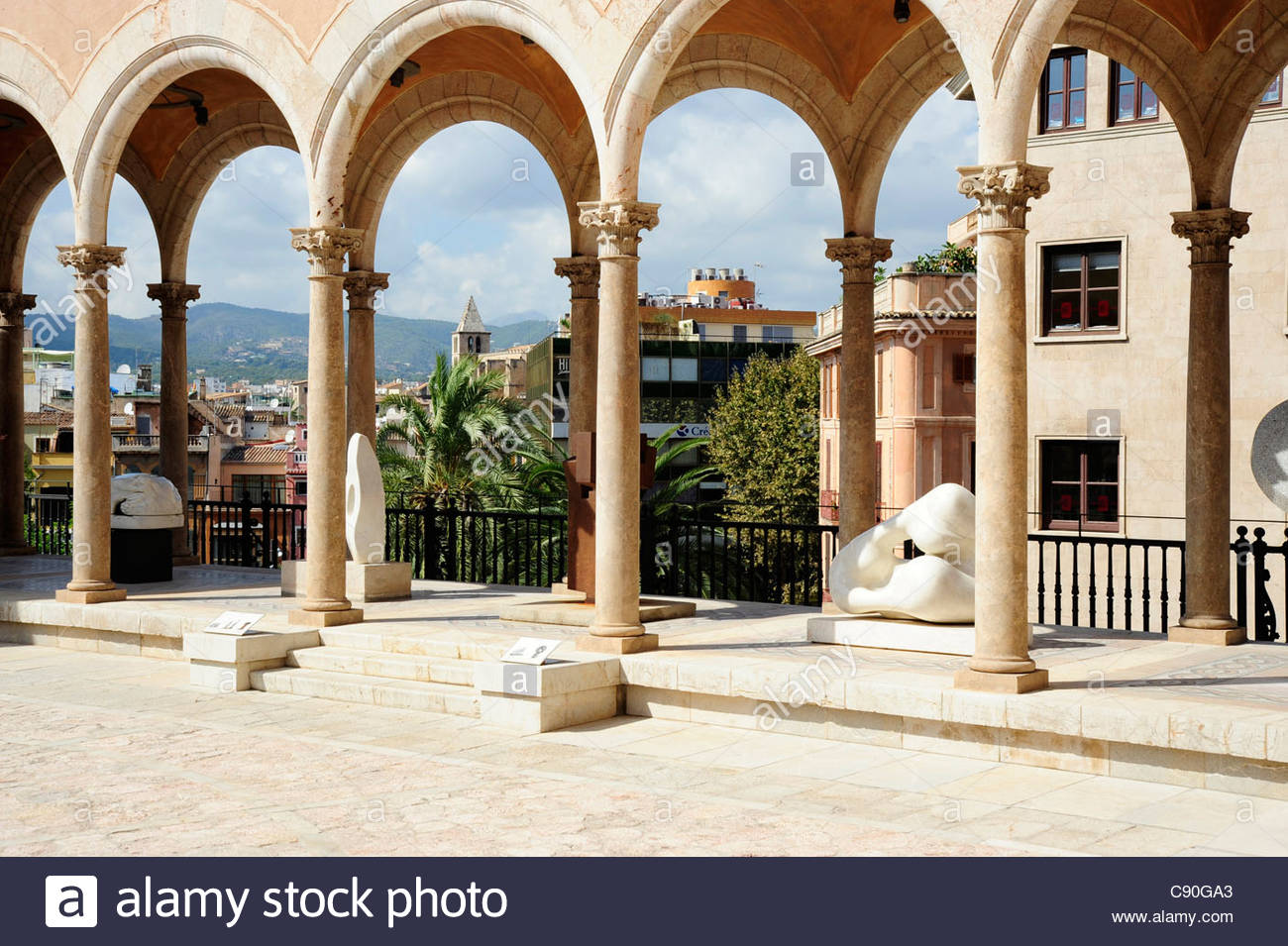 Patio with arcaded gallery March Palace Palau March a town palace in the historic city centre Ciutat Antiga Palma - Stock Image