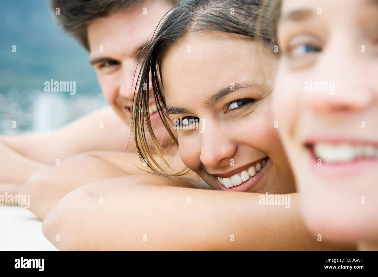 Three people, close up portrait - Stock Image
