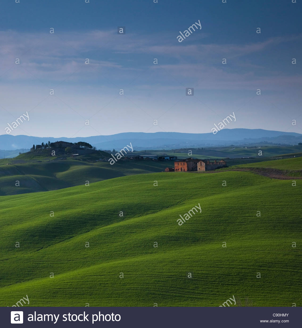 View of rural landscape and farmhouse - Stock Image