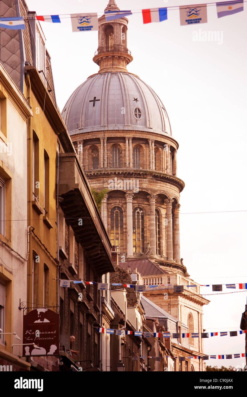 Boulogne ville haute Cathedral on Rue de Lille France - Stock Image