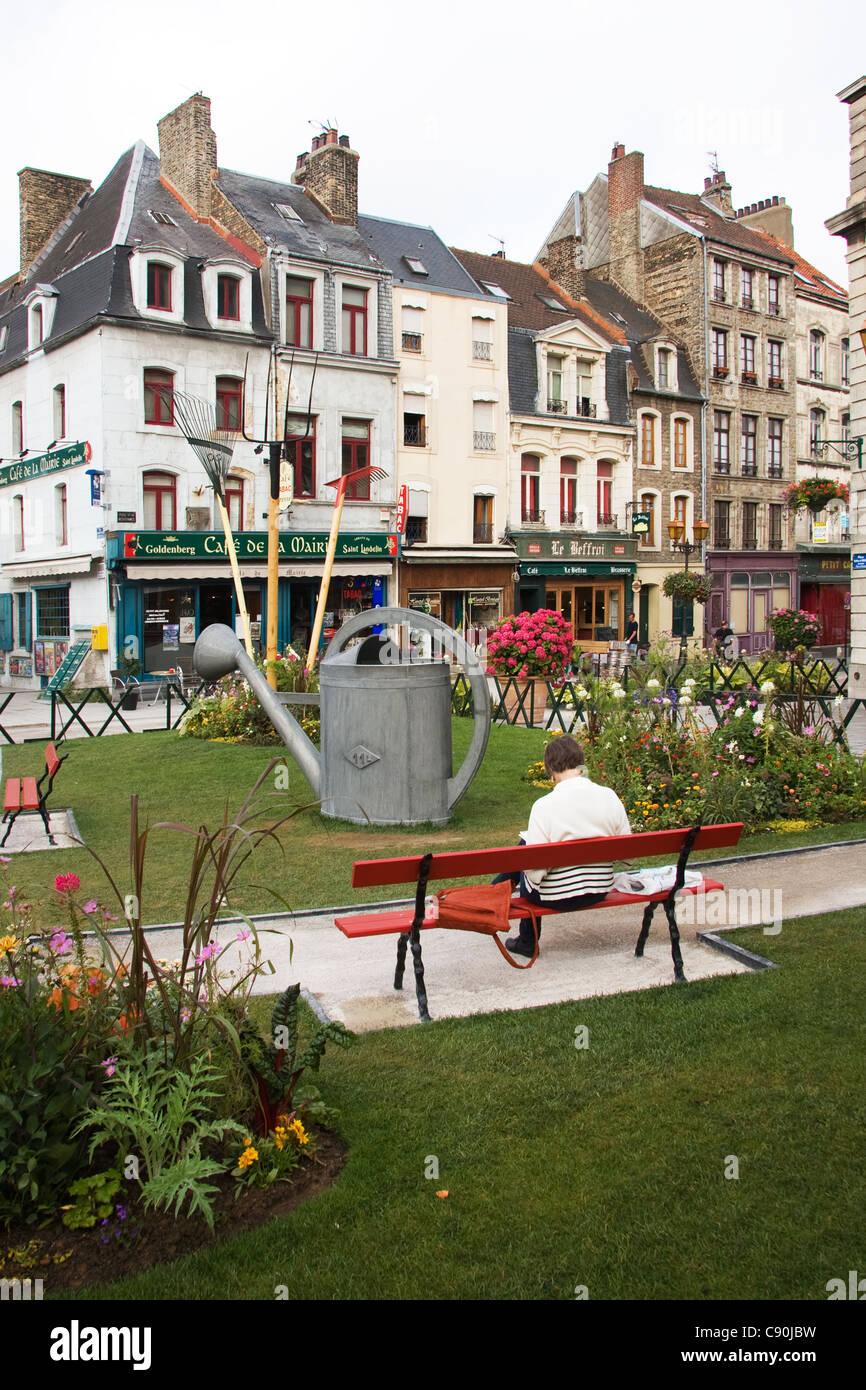 Boulogne ville haute Place Godefroy de Bouillon France - Stock Image