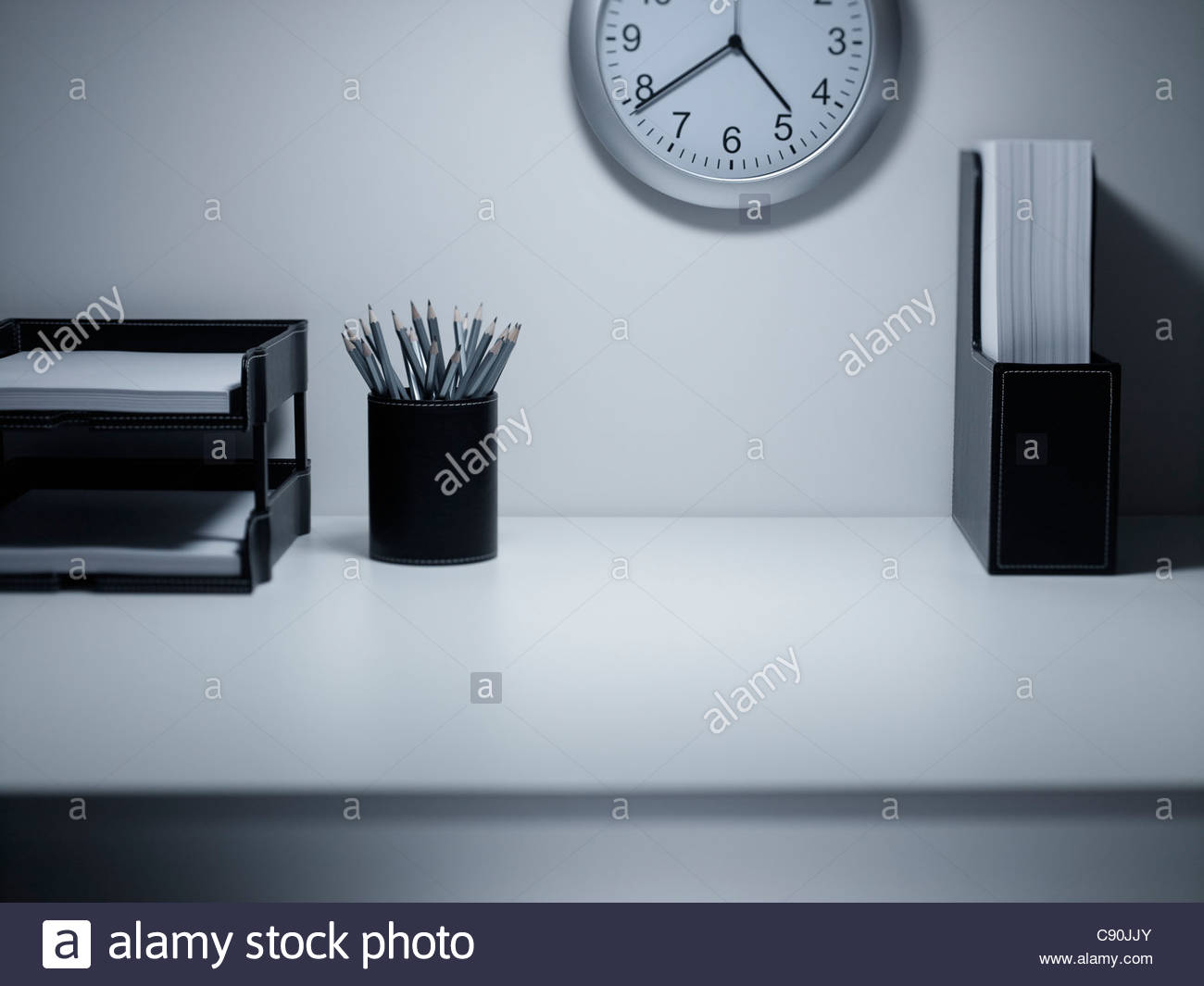 Empty office desk - Stock Image