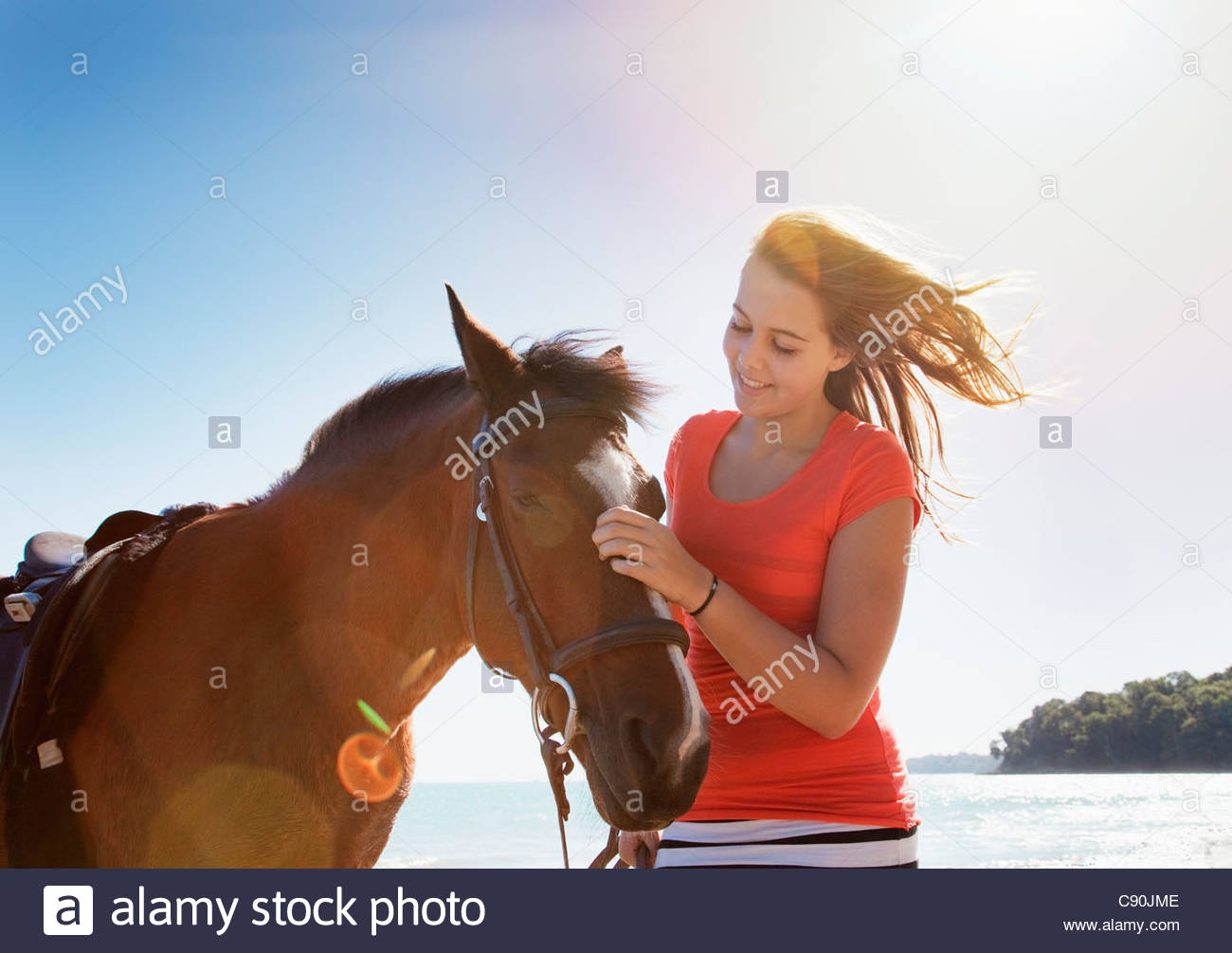Girl petting horse outdoors - Stock Image