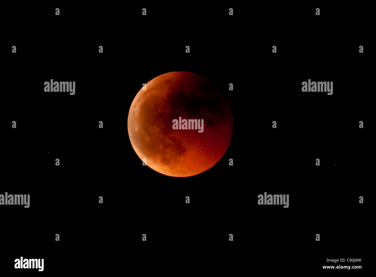 Lunar Eclipse from Bologna, full Moon Eclipse - Stock Image