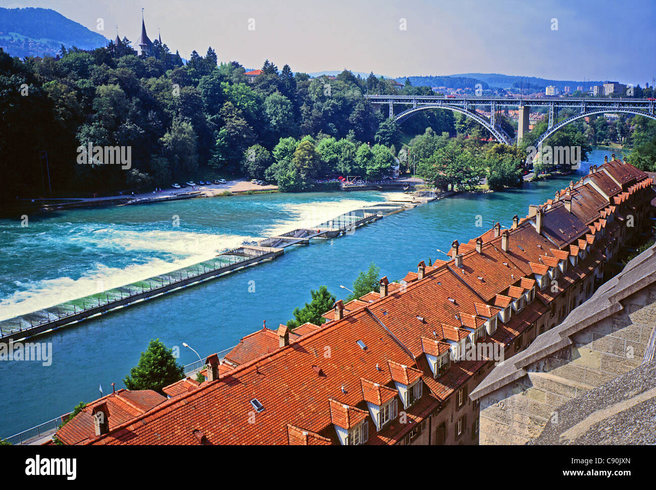 Aare river and Kirchenfeldbrücke in Bern. - Stock Image