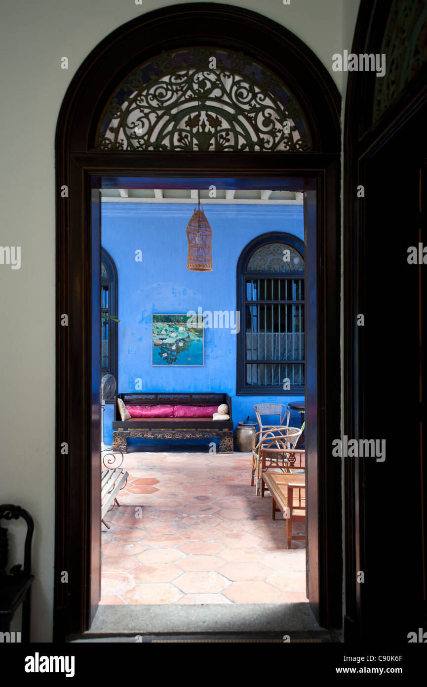 View of atrium of historic Cheong Fatt Tze Mansion, Georgetown, Penang, Malaysia, Asia - Stock Image