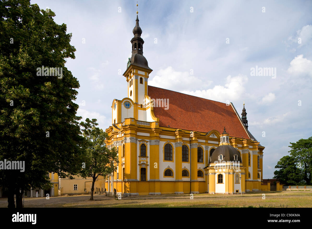 Church of Neuzelle monastery under clouded sky Cistercian monastery near Eisenhuettenstadt Niederlausitz Brandenburg - Stock Image