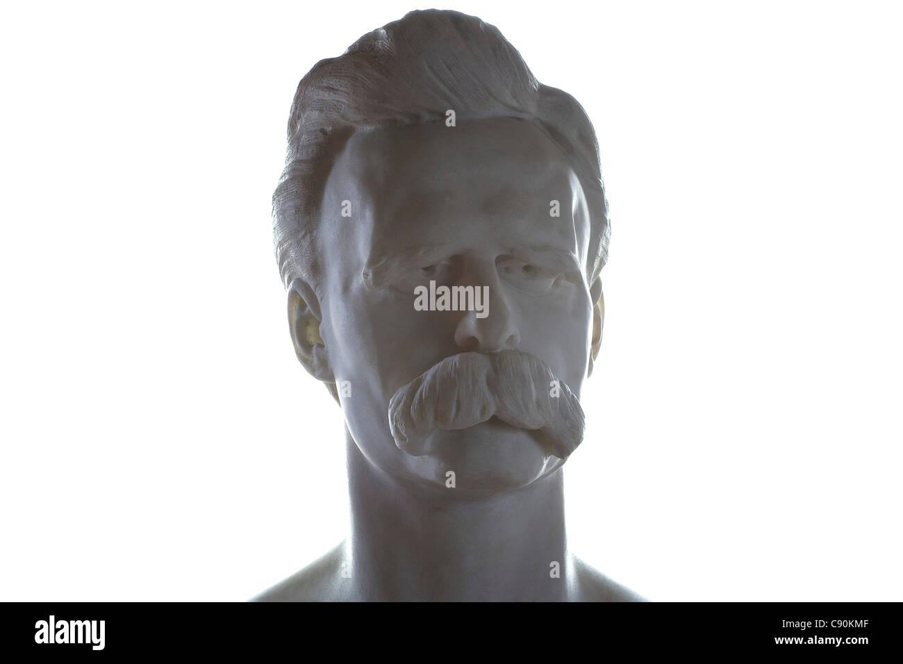 Bust of Friedrich Nietzsche, Nietzsche Archive, Weimar, Thuringia, Germany, Europe - Stock Image
