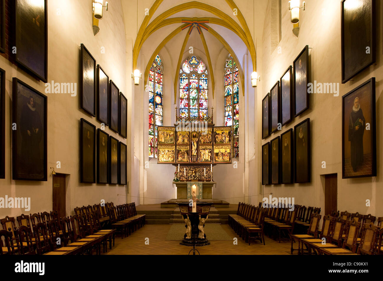 Interior view of St. Thomas Church, Leipzig, Saxony, Germany, Europe - Stock Image