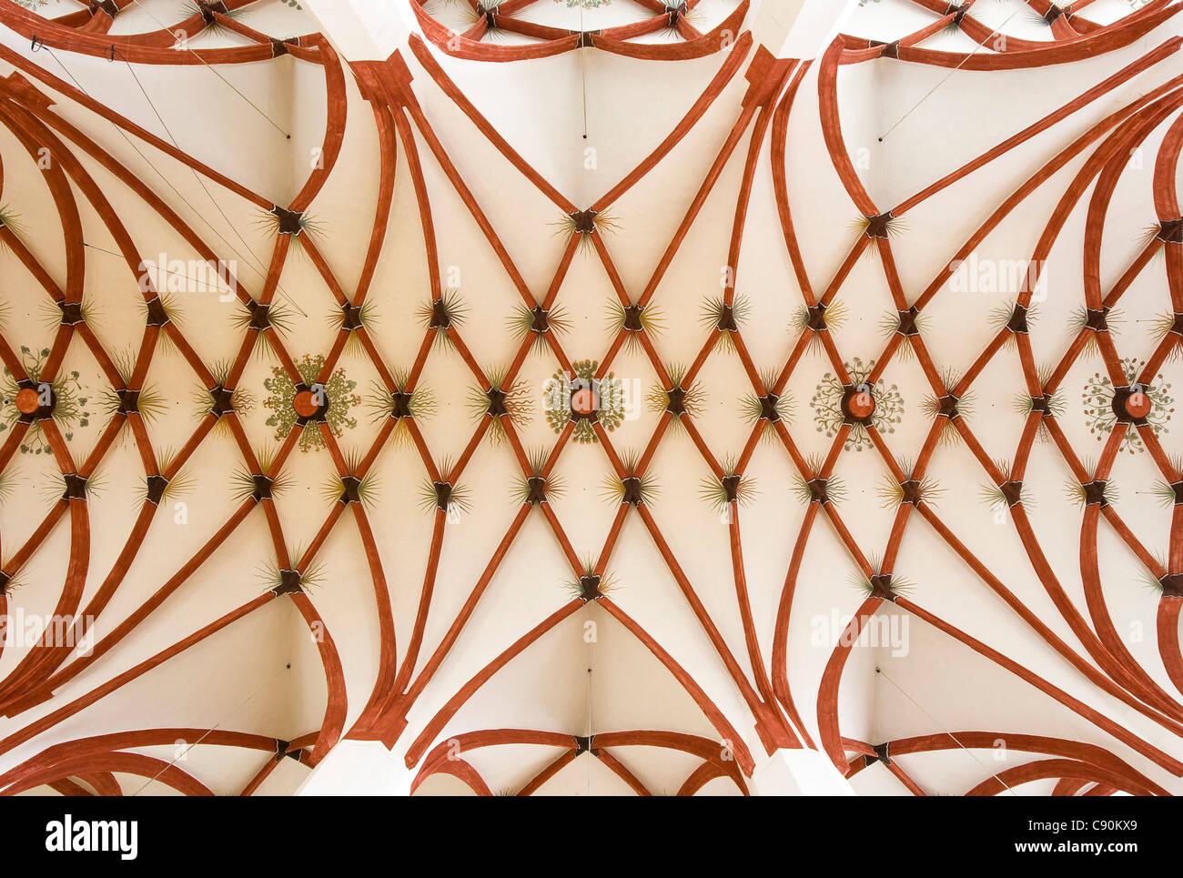 Ribbed vault in St. Thomas Church, Leipzig, Saxony, Germany, Europe - Stock Image