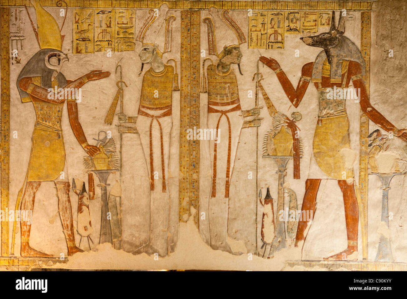 Painting in the Tomb of Tutankhamun, Valley of the Kings, Luxor, ancient Thebes, Egypt, Africa - Stock Image