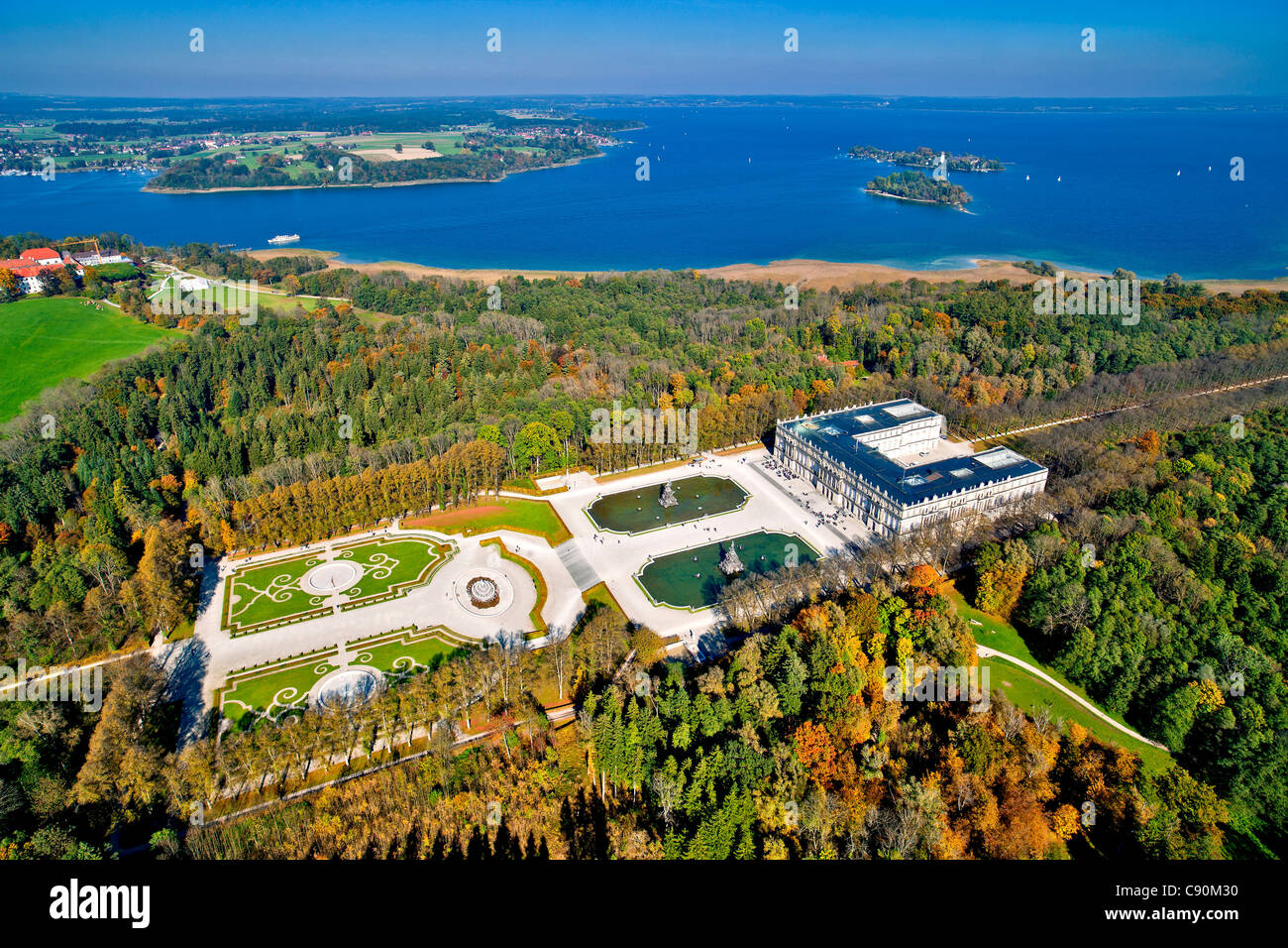 Aerial view of the Herrenchiemsee Castle, Herrenchiemsee, Chiemsee, Chiemgau, Upper Bavaria, Bavaria, Germany - Stock Image