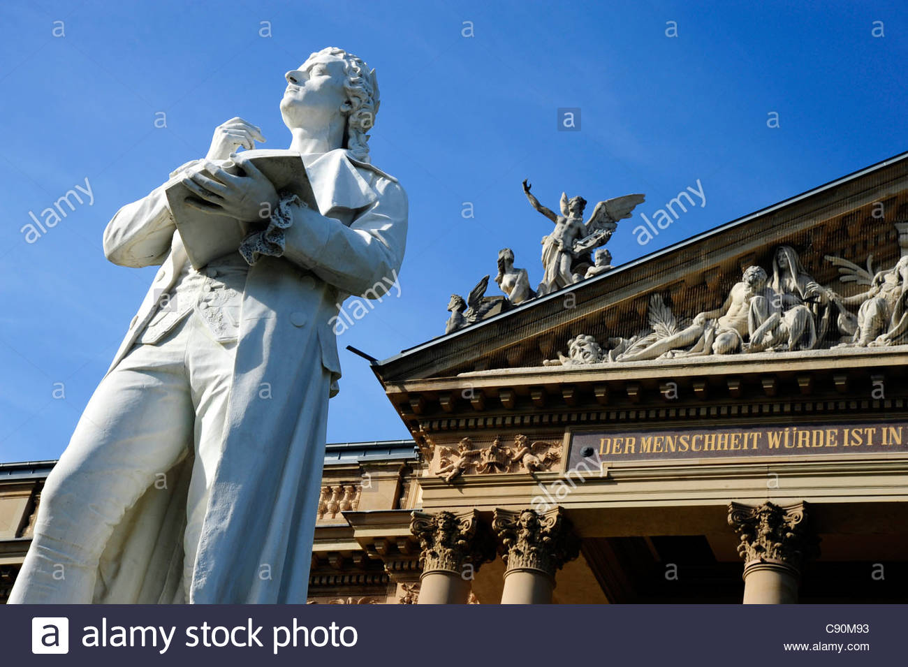 Detail of Hessian State Theater behind Schiller statue, Wiesbaden, Hesse, Germany, Europe - Stock Image