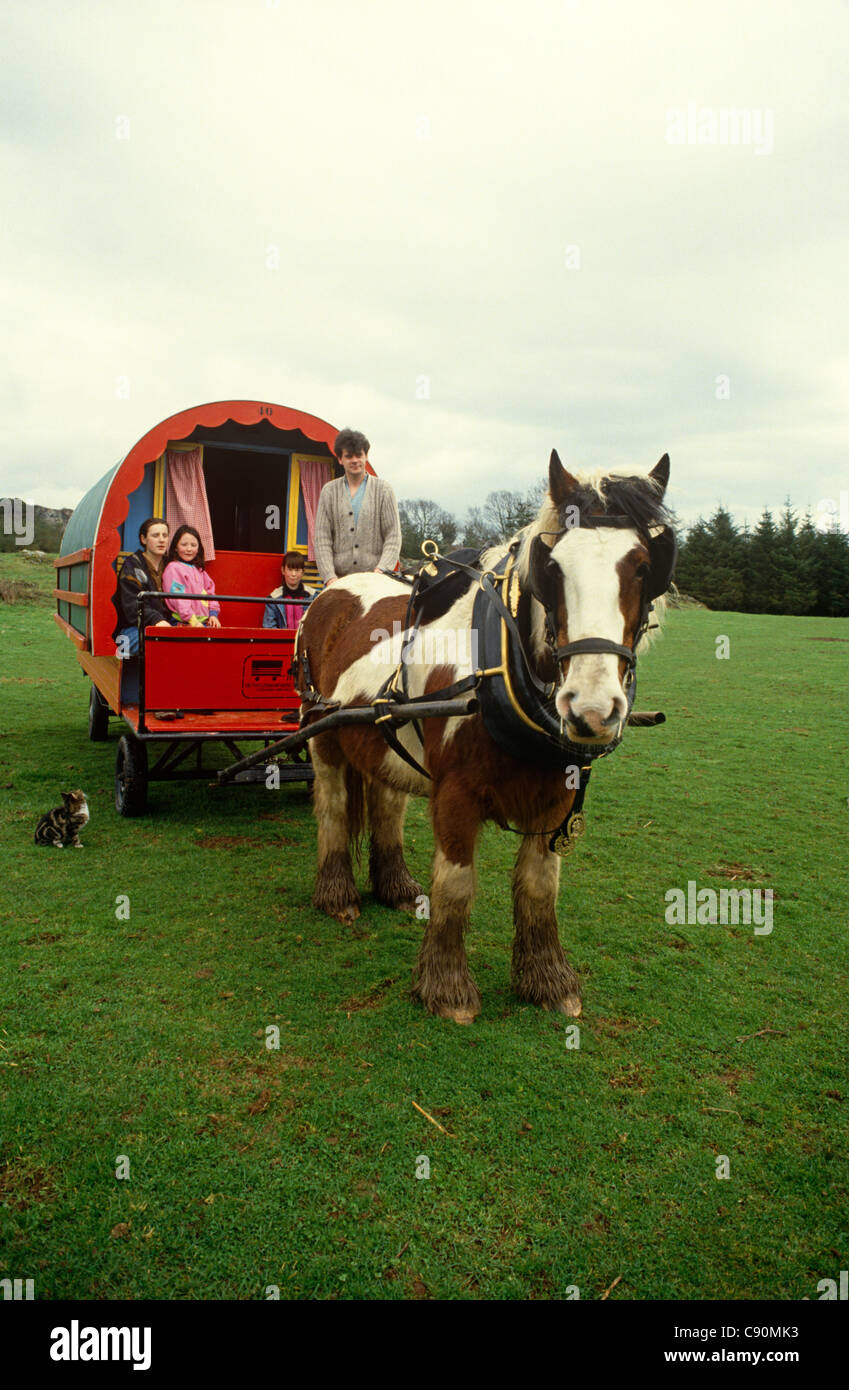 Horse drawn caravans are used in Ireland as traditional means of transport and for living accommodation. They are - Stock Image