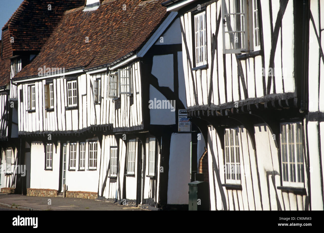 Elstow village has historic medieval houses with timber frames lathe and plaster exteriors and a second storey overhang Stock Photo