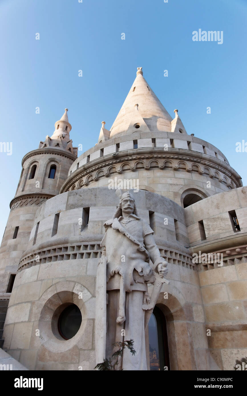 View of the Fisherman's Bastion and a statue on the half landing form below, Budapest, Hungary - Stock Image