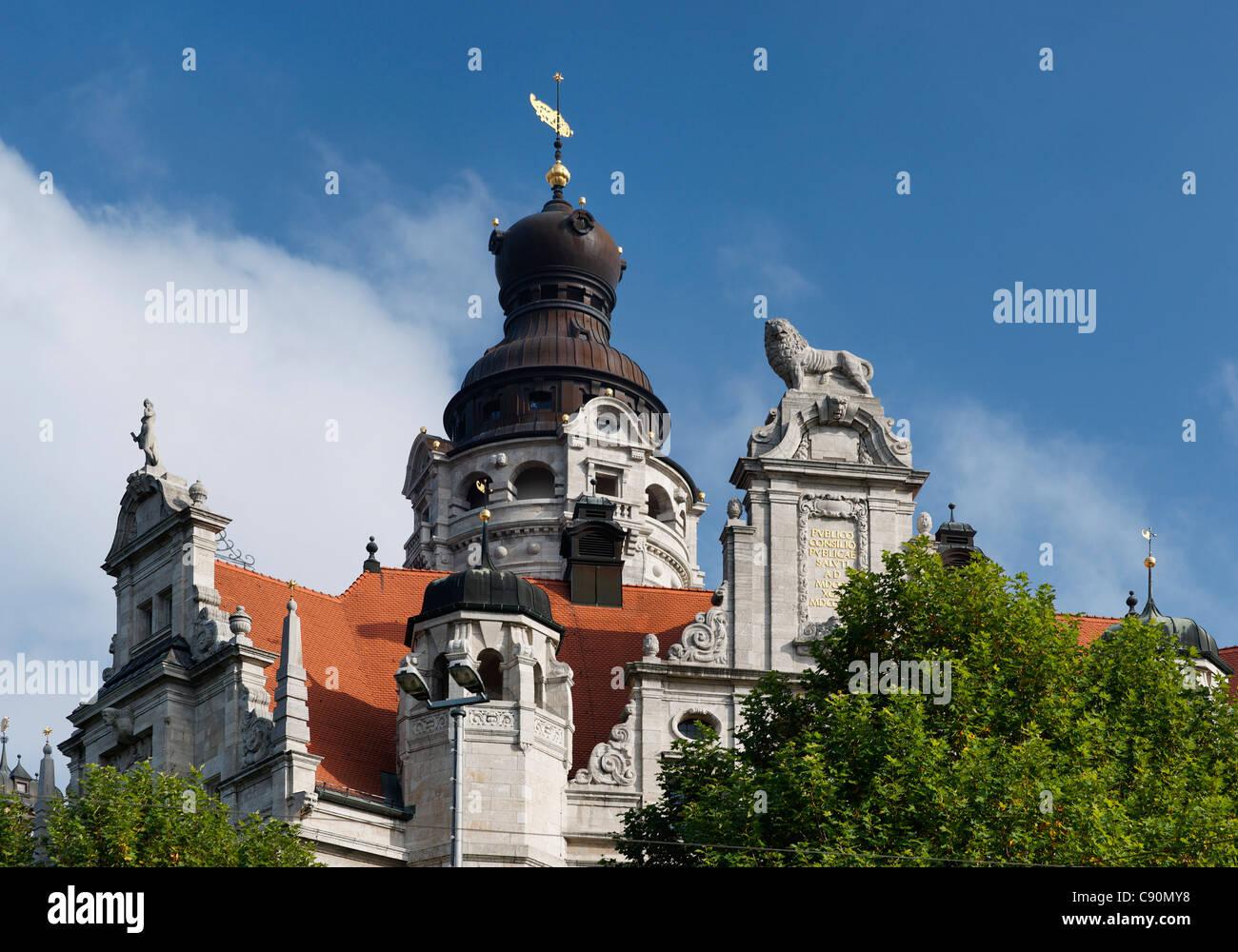 New City Hall, architect Hugo Licht, Leipzig, Saxony, Germany - Stock Image