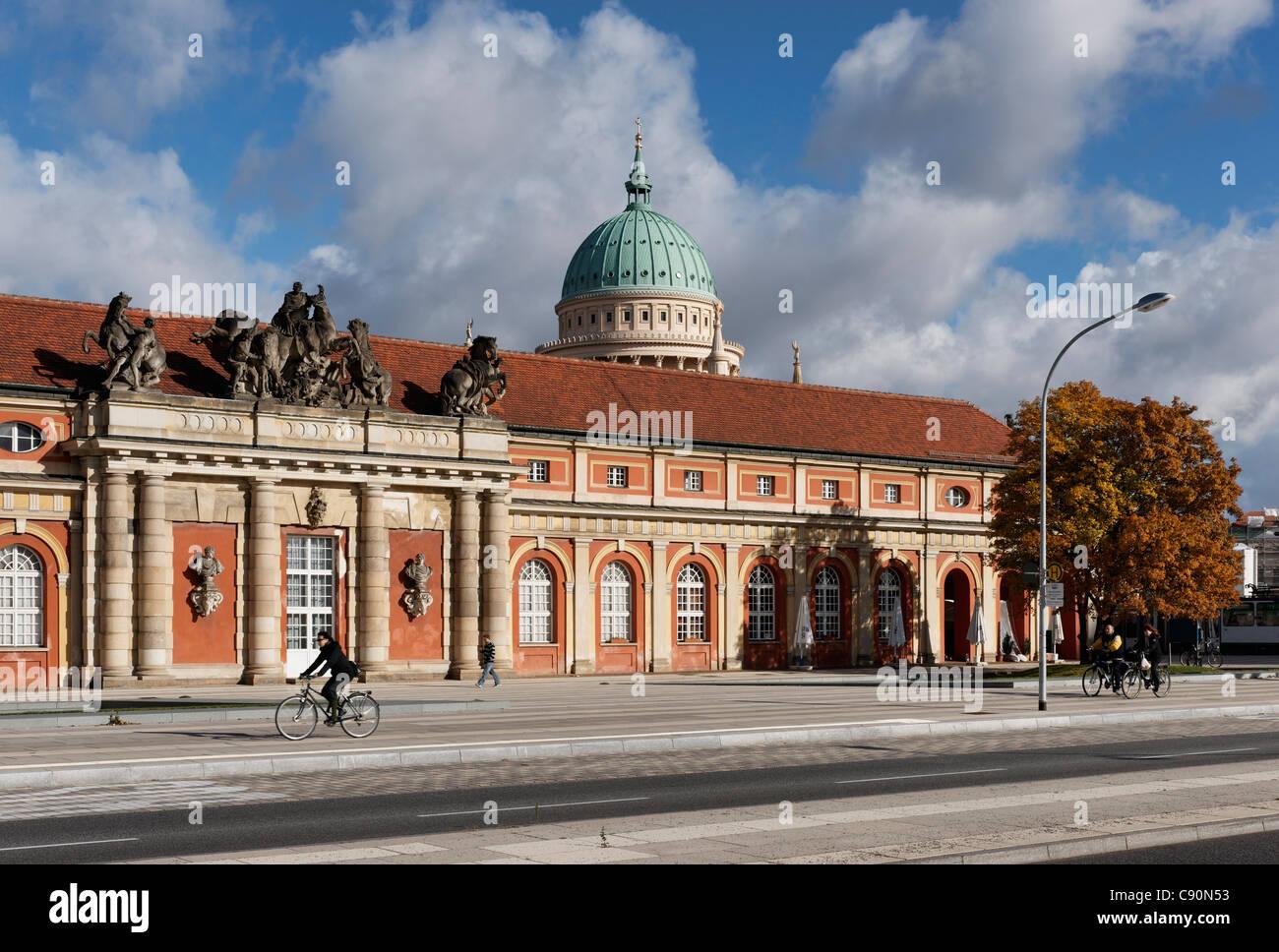 Breadth Street, Stables, Film Museum, Nikolai Church, builder Georg Wenzeslaus von Knobelsdorff, Potsdam, Brandenburg, - Stock Image