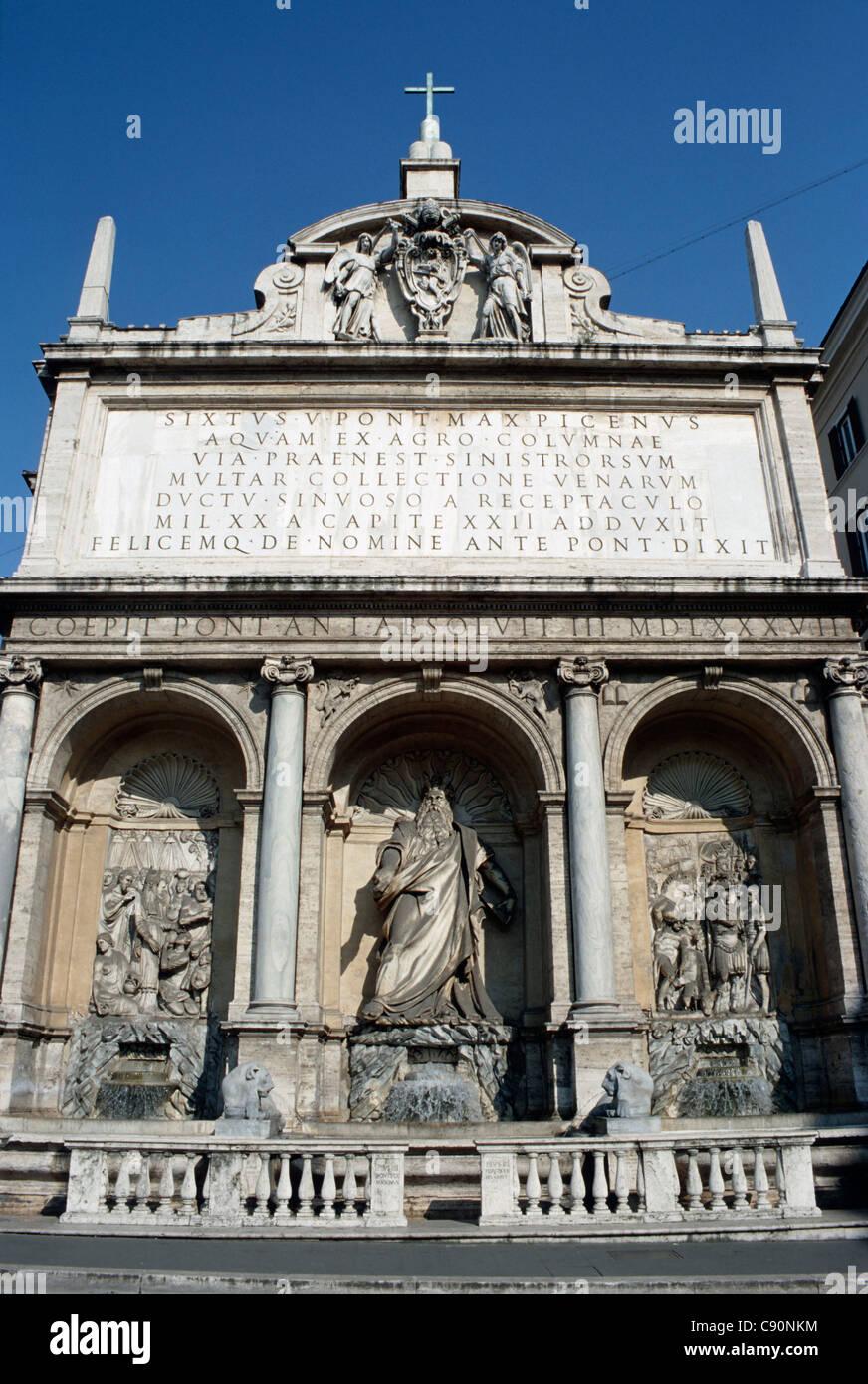 Moses Fountain Fontana Dell Aqua Felice Rome Italy Stock