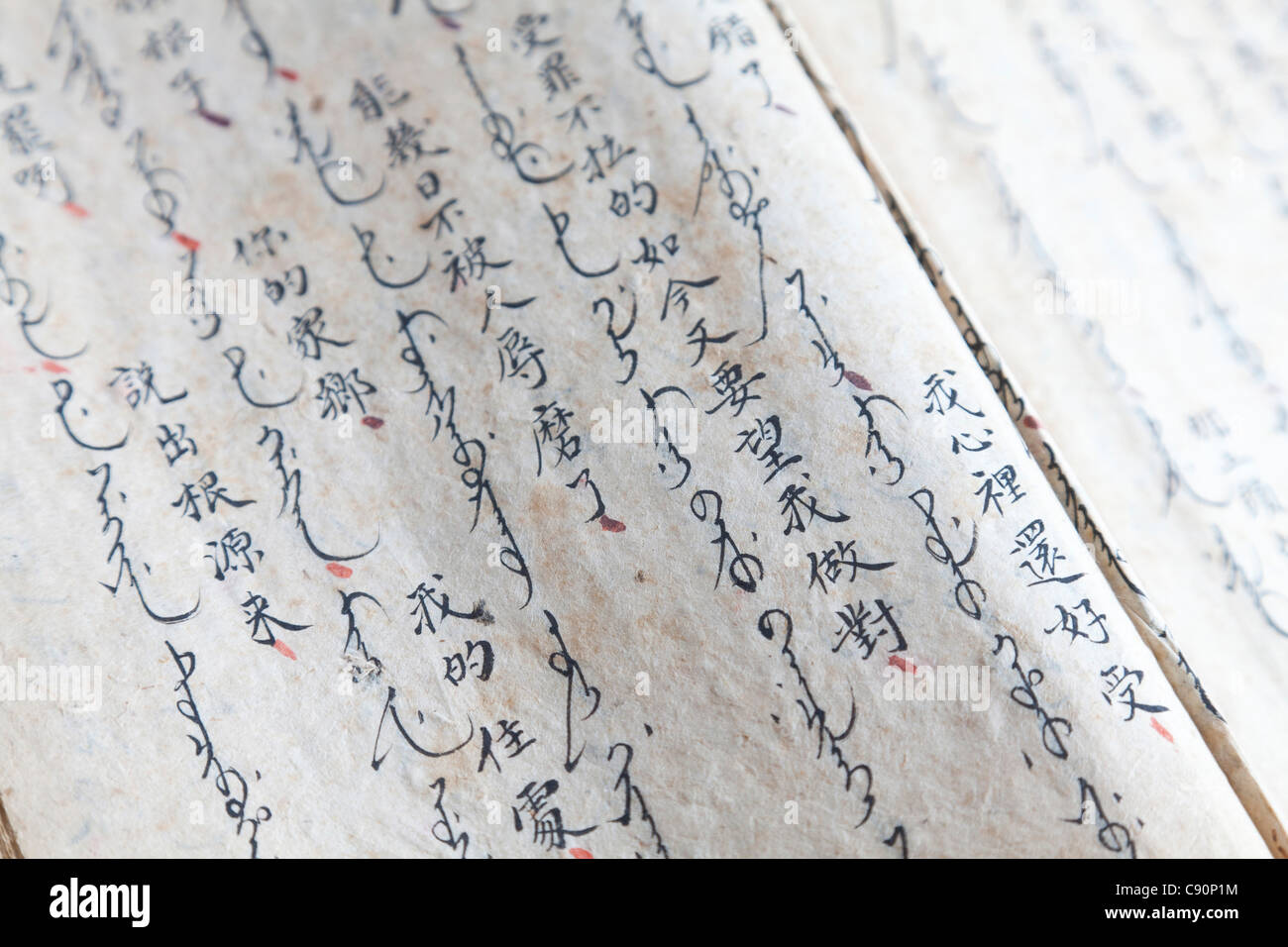Parchment with Manchu-Chinese text, Qing dynasty, Leipzig, Saxony, Germany - Stock Image