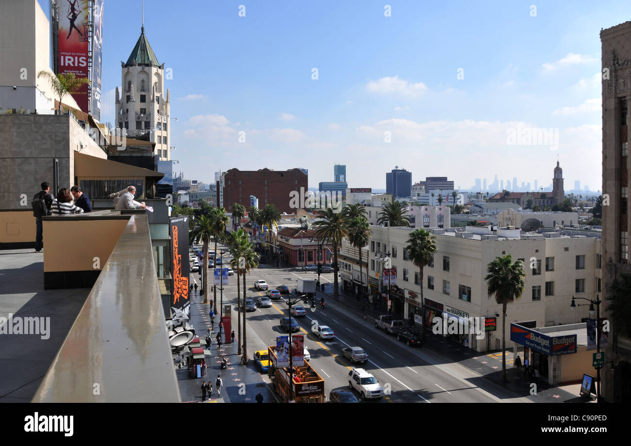 Hightened view of Hollywood Boulevard, Hollywood, Los Angeles, California, USA, America - Stock Image