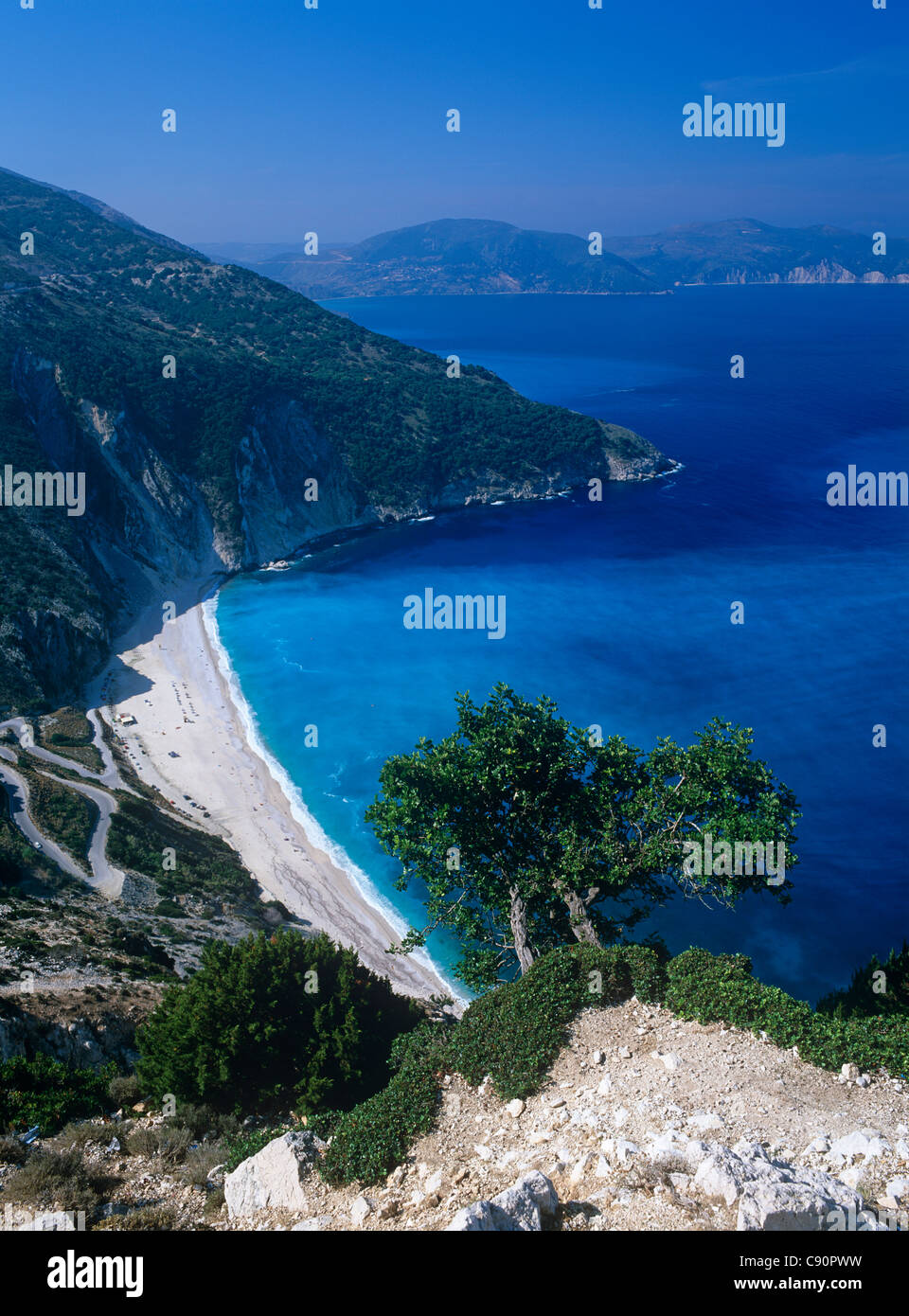 Myrtos beach is a long strand of sandy beach on the island of Cephalonia in a stunning landscape. Sami, Kefallonia, - Stock Image