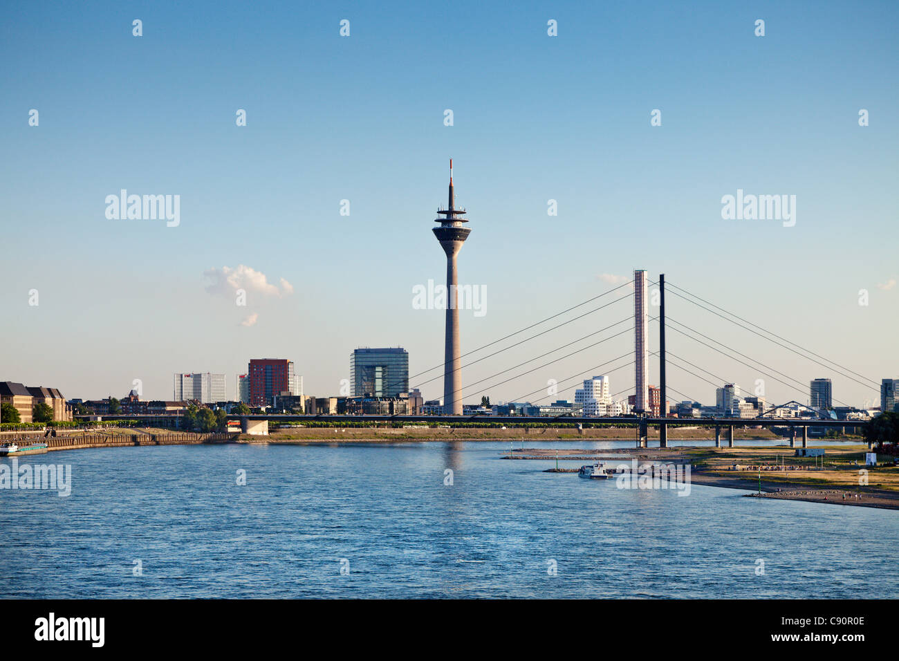 River Rhein and Media Harbour, Duesseldorf, Duesseldorf, North Rhine-Westphalia, Germany, Europe Stock Photo