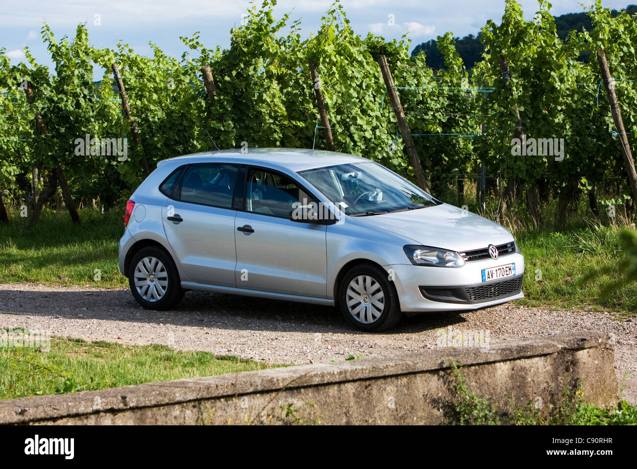 Car hire France Volkswagen VW in the Route du Vin region France - Stock Image