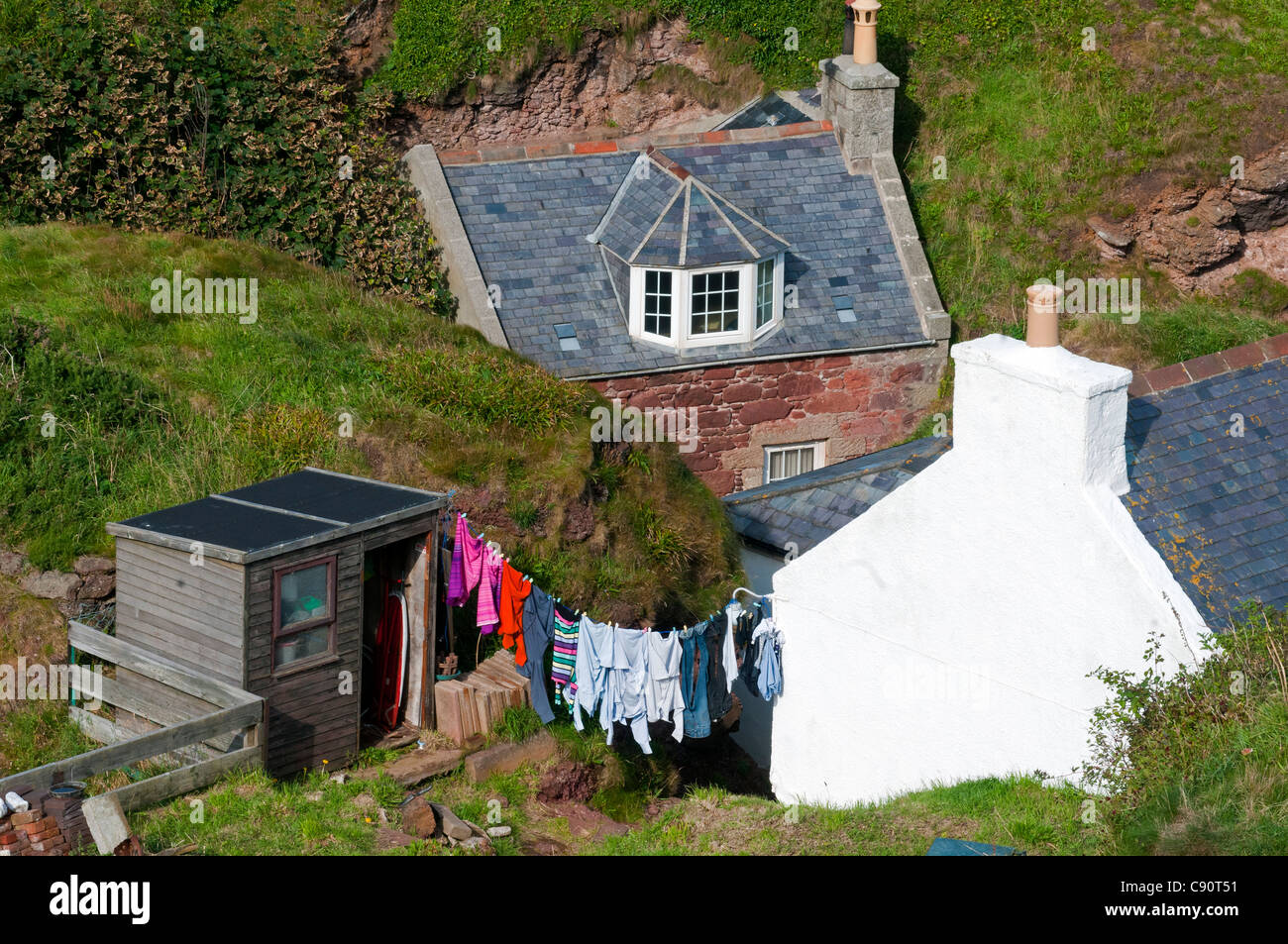 Washing hung up on the line, village of Penang, Aberdeenshire, Scotland - Stock Image