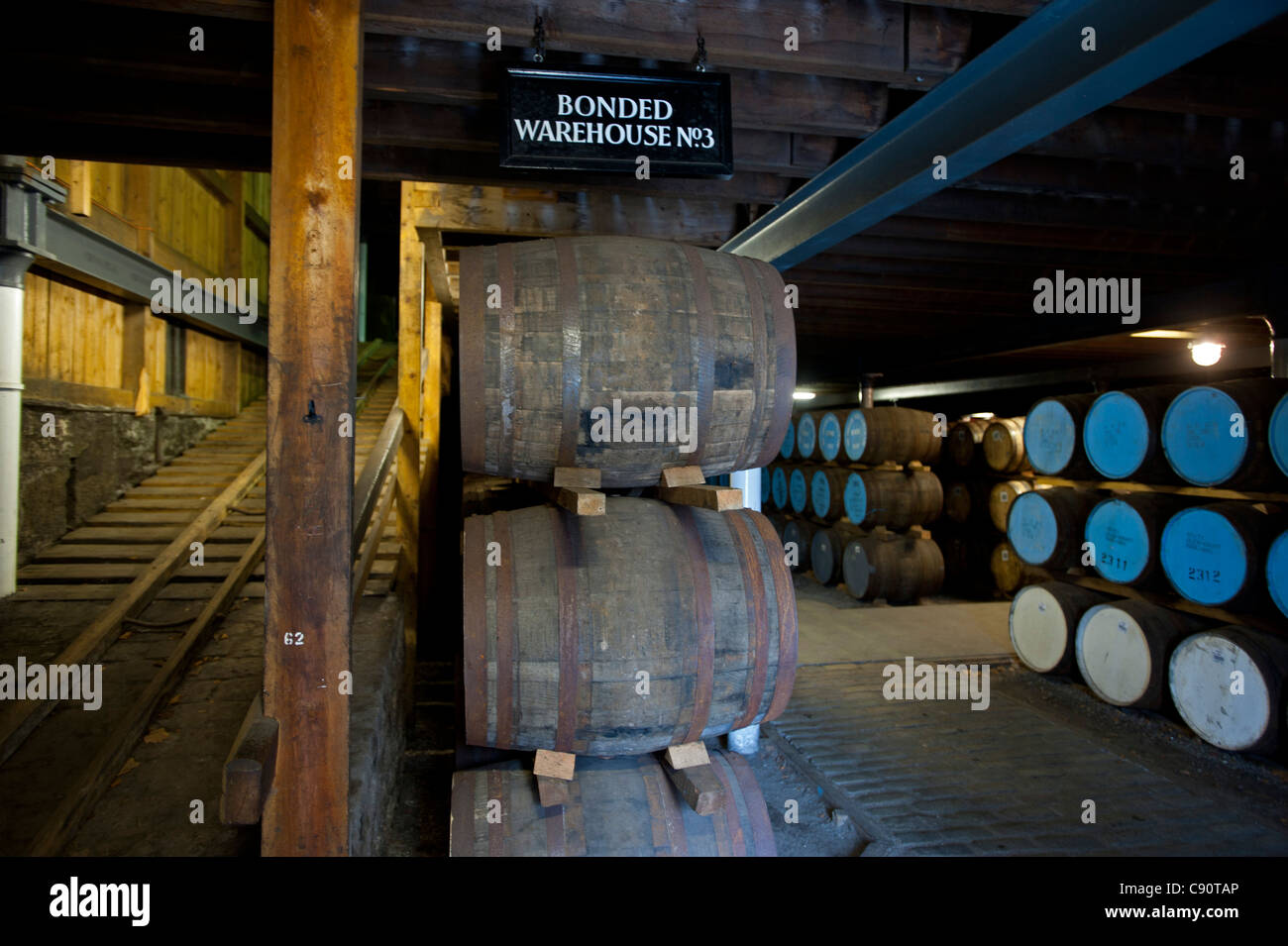 Warehouse of the Strathisla Distillery in Keith, Aberdeenshire, Scotland - Stock Image