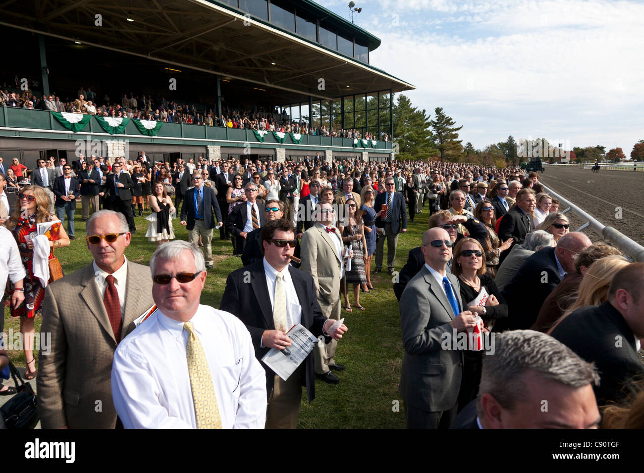 Visitors at the Keeneland Horse Race high-society visitors watching the race Lexington Kentucky United States of - Stock Image