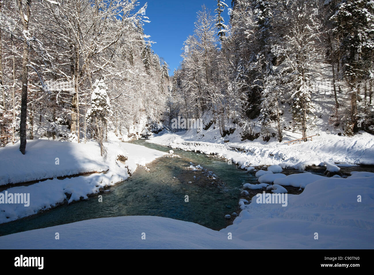 Partnach stream near Garmisch Partenkirchen, Upper Bavaria, Germany, Europe - Stock Image