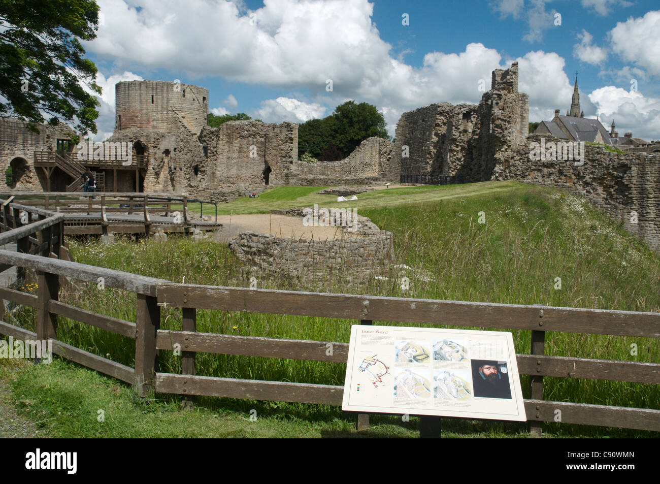 Barnard Castle is a historic castle on the cliff above the river Tees at a vital strategic point at a river crossing - Stock Image