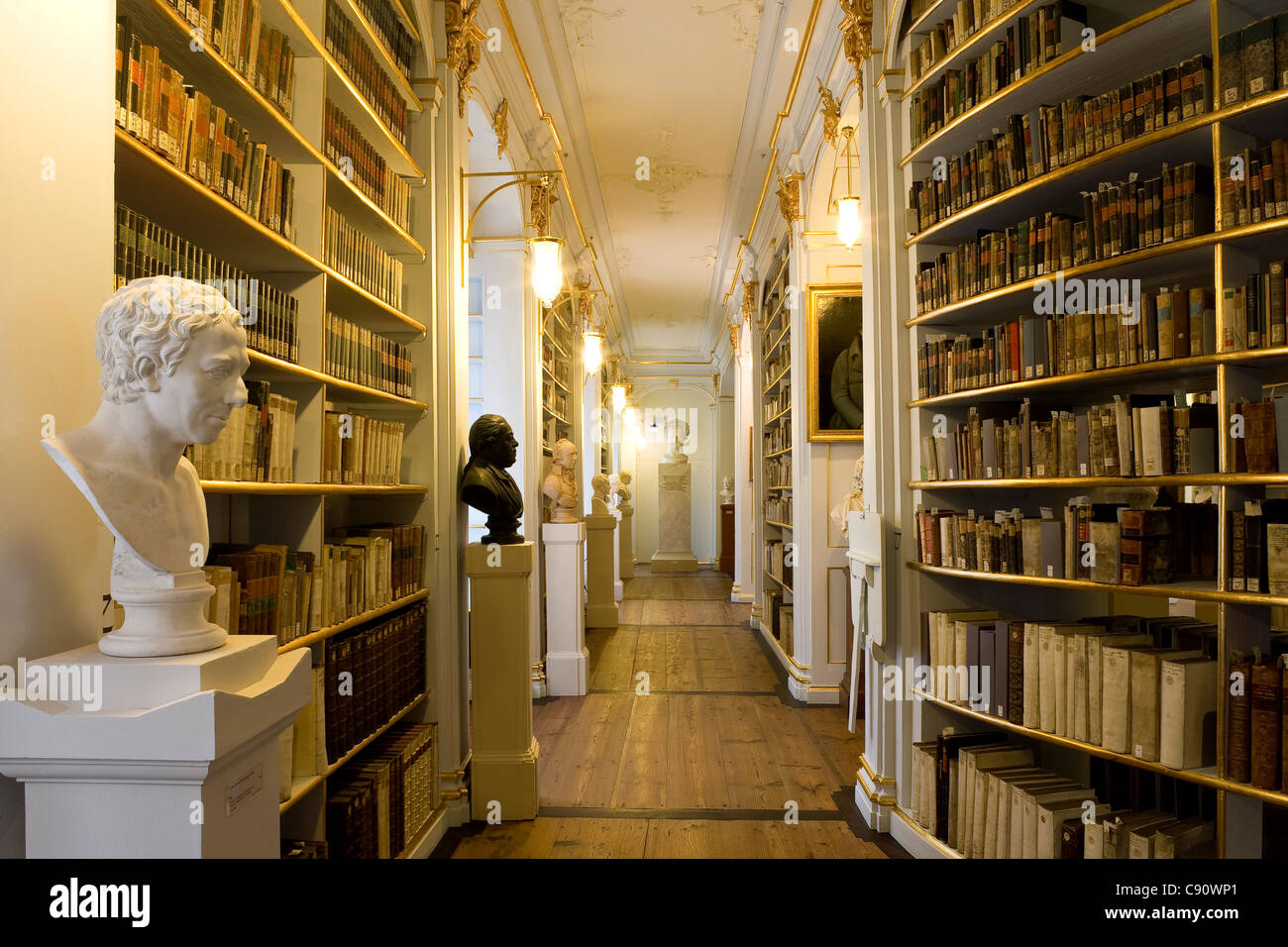 The historic Rococo room of the Duchess Anna Amalia Library, Weimar, Thuringia, Germany, Europe - Stock Image