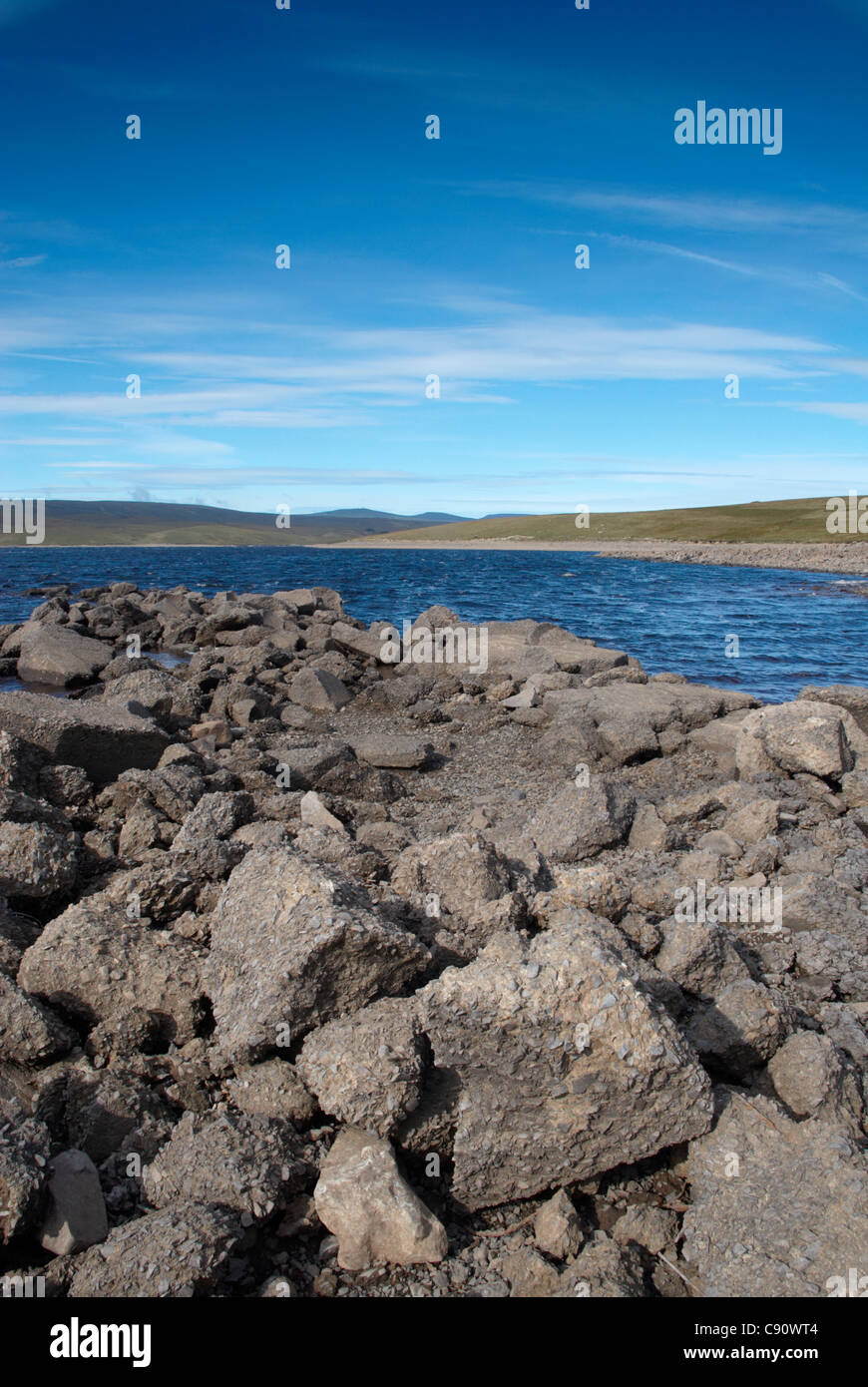 Cow Green reservoir was created in Upper Teesdale in 1971. The surrounding area was designated a National Nature - Stock Image