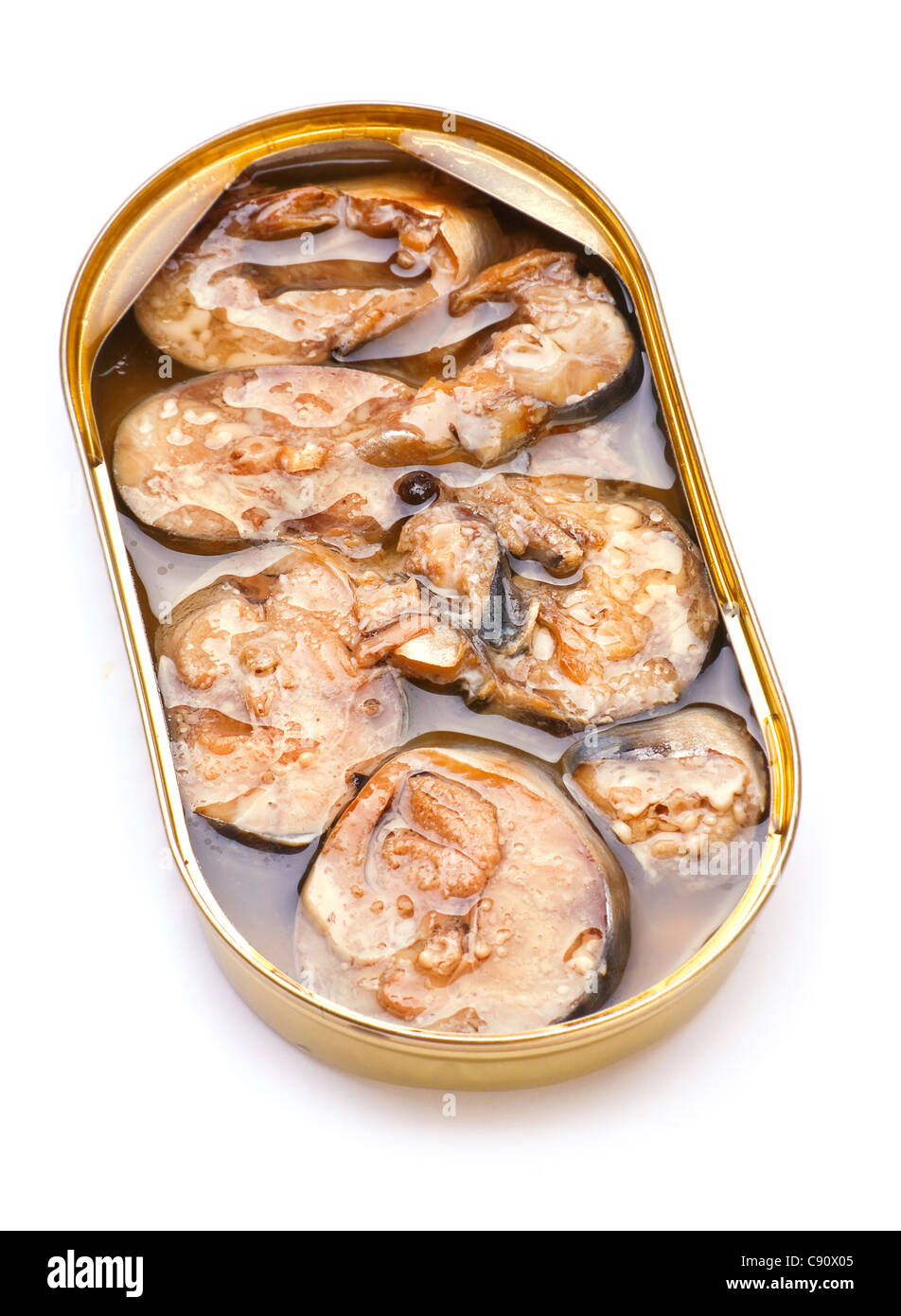 Sprat preserved fish in metal can on white - Stock Image