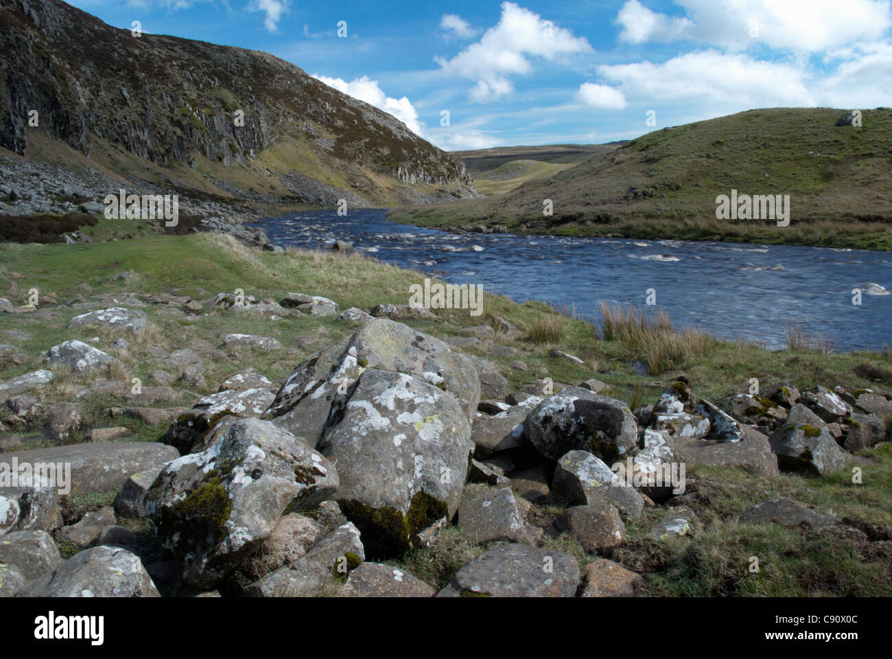 Upper Teesdale River Tees at Falcon Clints below Cauldron Snout and Cow Green reservoir. Durham, England - Stock Image