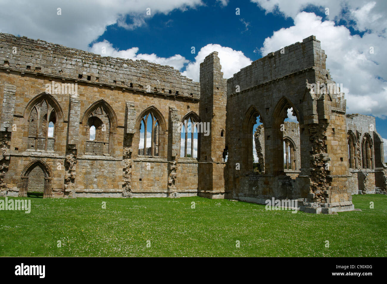 Egglestone Abbey is a late 12th century Premonstratensian abbey near Barnard Castle. It is a ruin but there are - Stock Image