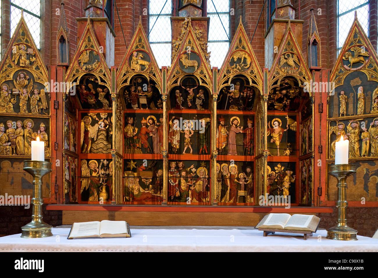 Altar of Cismar monastery, Cismar, Schleswig-Holstein, Germany, Europe - Stock Image