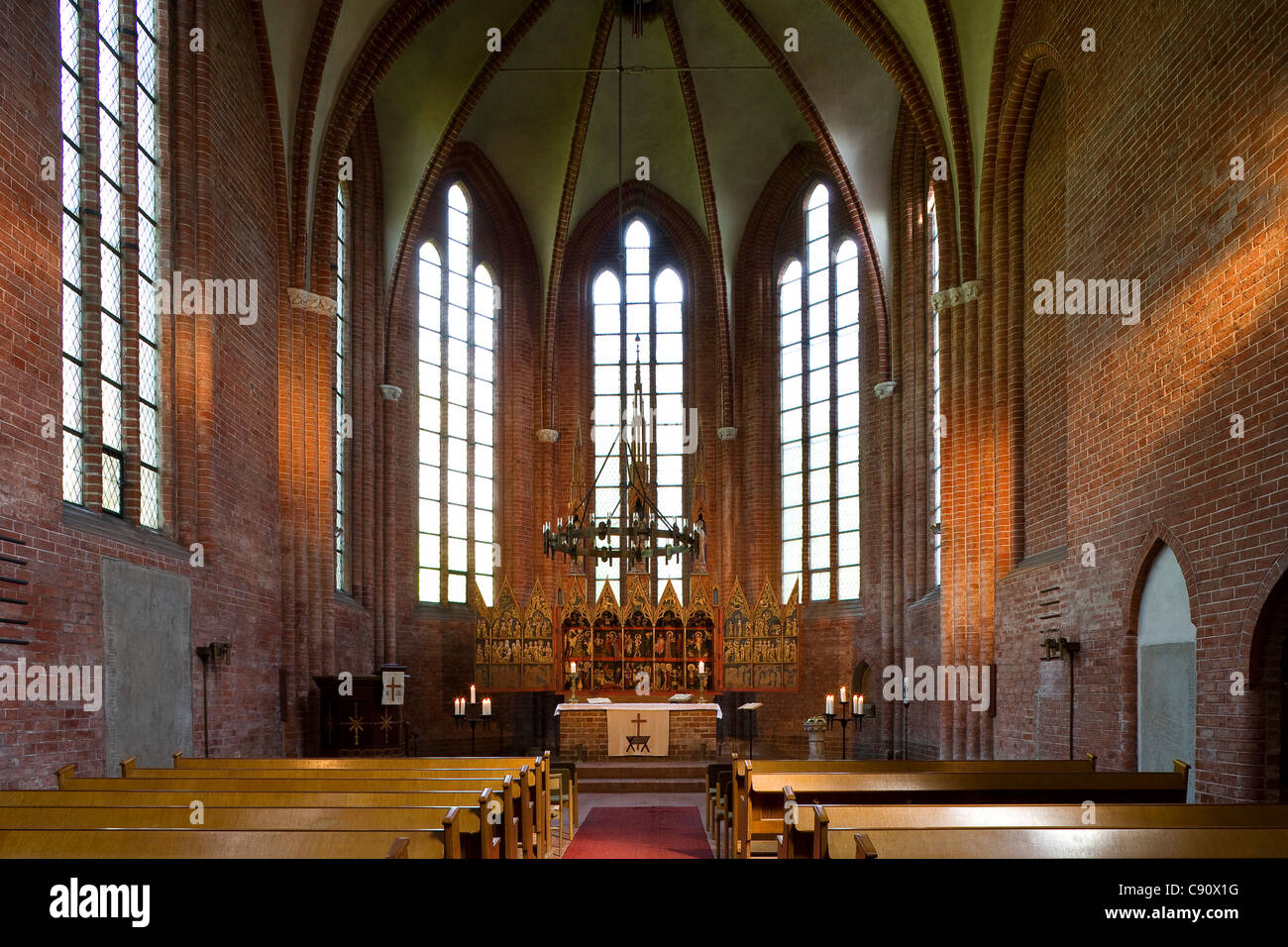 Interior view of abbey church, Cismar monastery, Cismar, Schleswig-Holstein, Germany, Europe - Stock Image
