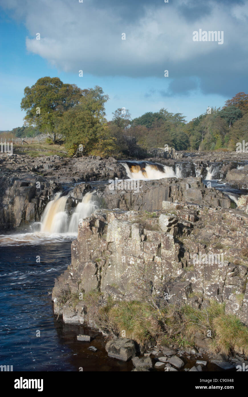 Low Force waterfalls are a series of small cascades on the River Tees at Bowlees. Durham, England. - Stock Image