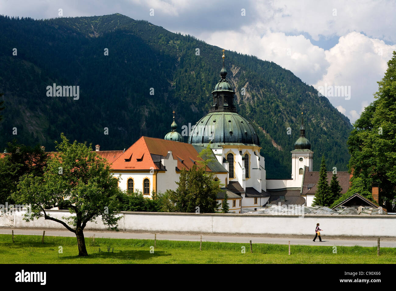 Ettal minster in the sunlight, Benedictine monastry, Ettal, Bavaria, Germany, Europe - Stock Image