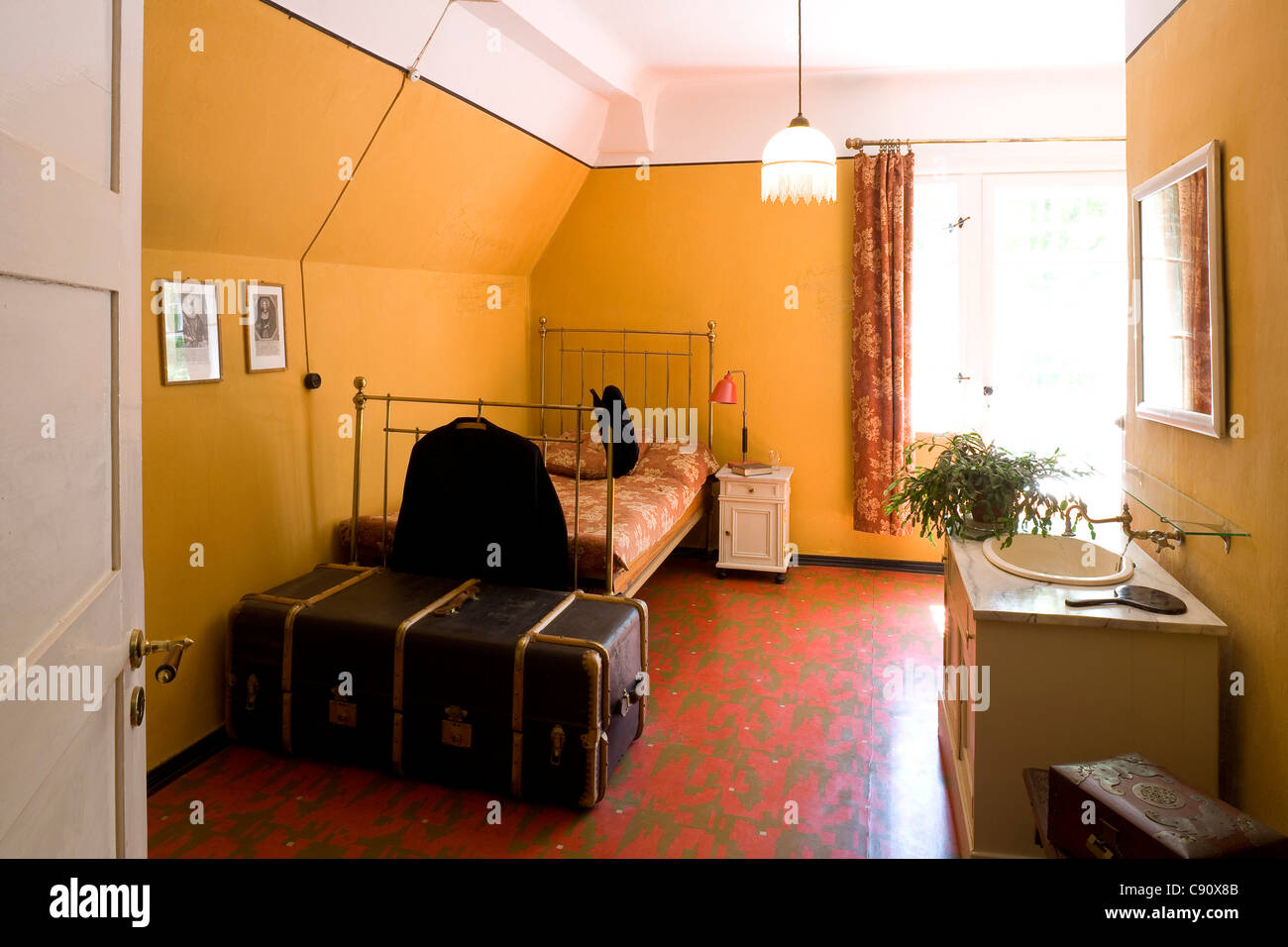Bedroom at Gerhart-Hauptmann-Haus, Haus Seedorn, Kloster, isle of Hiddensee, Mecklenburg-Western Pomerania, Germany, - Stock Image