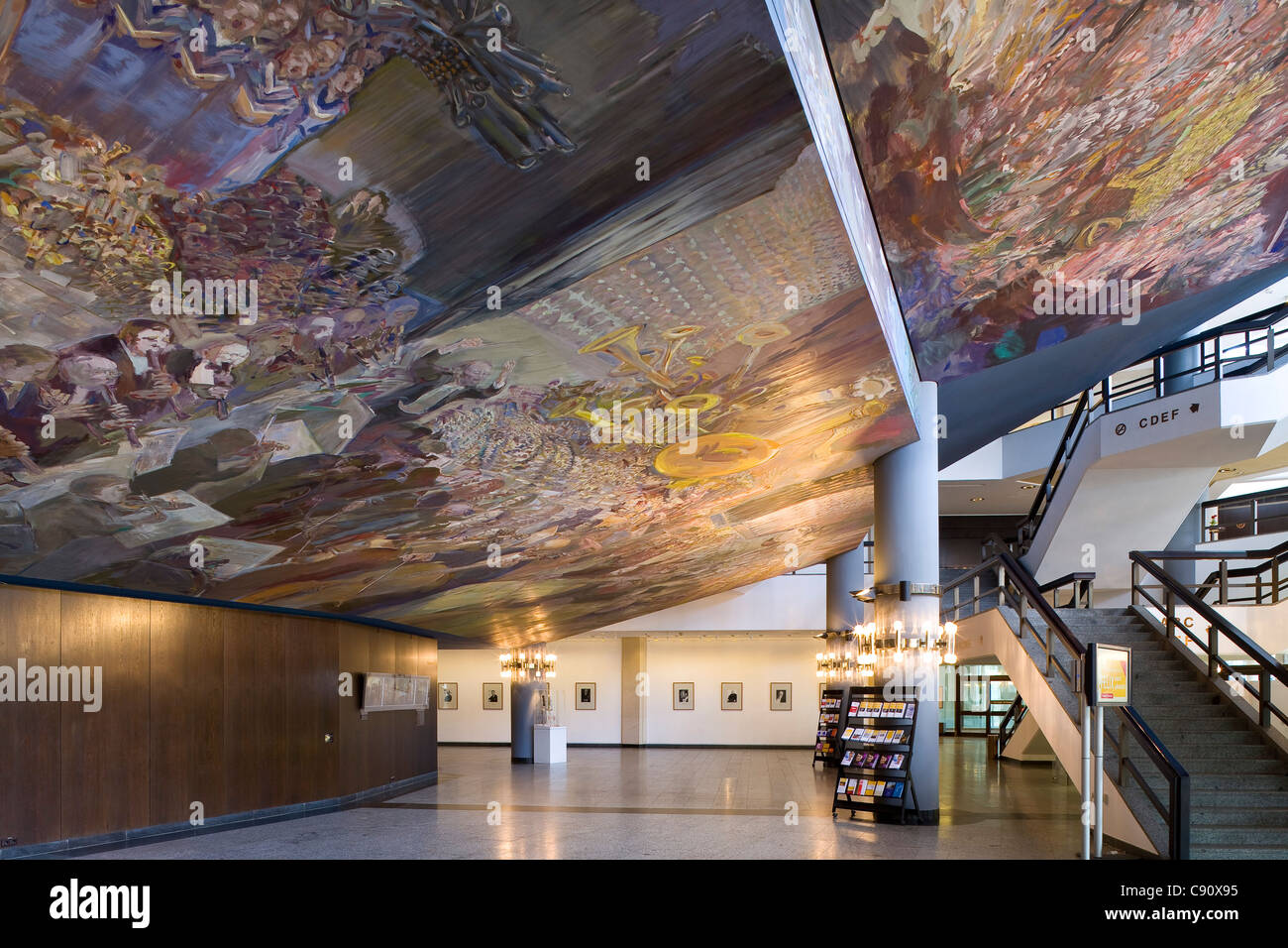Ceiling fresco Gesang vom Leben in the foyer of the new Gewandhaus in Leipzig, Saxony, Germany, Europe - Stock Image
