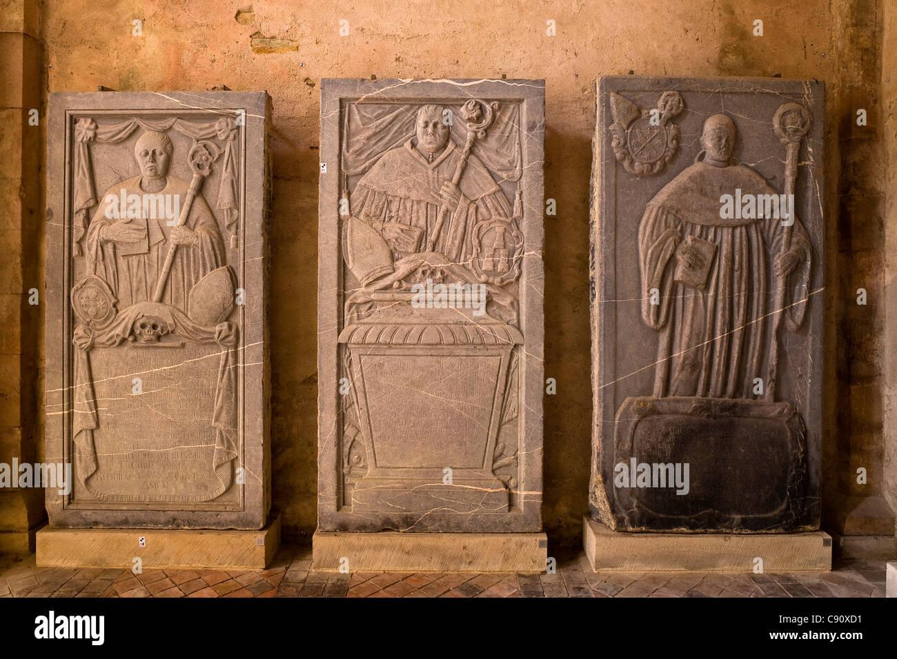 Tombstones at Eberbach abbey, a medieval monastery in Eltville am Rhein, Rheingau, Hesse, Germany, Europe - Stock Image