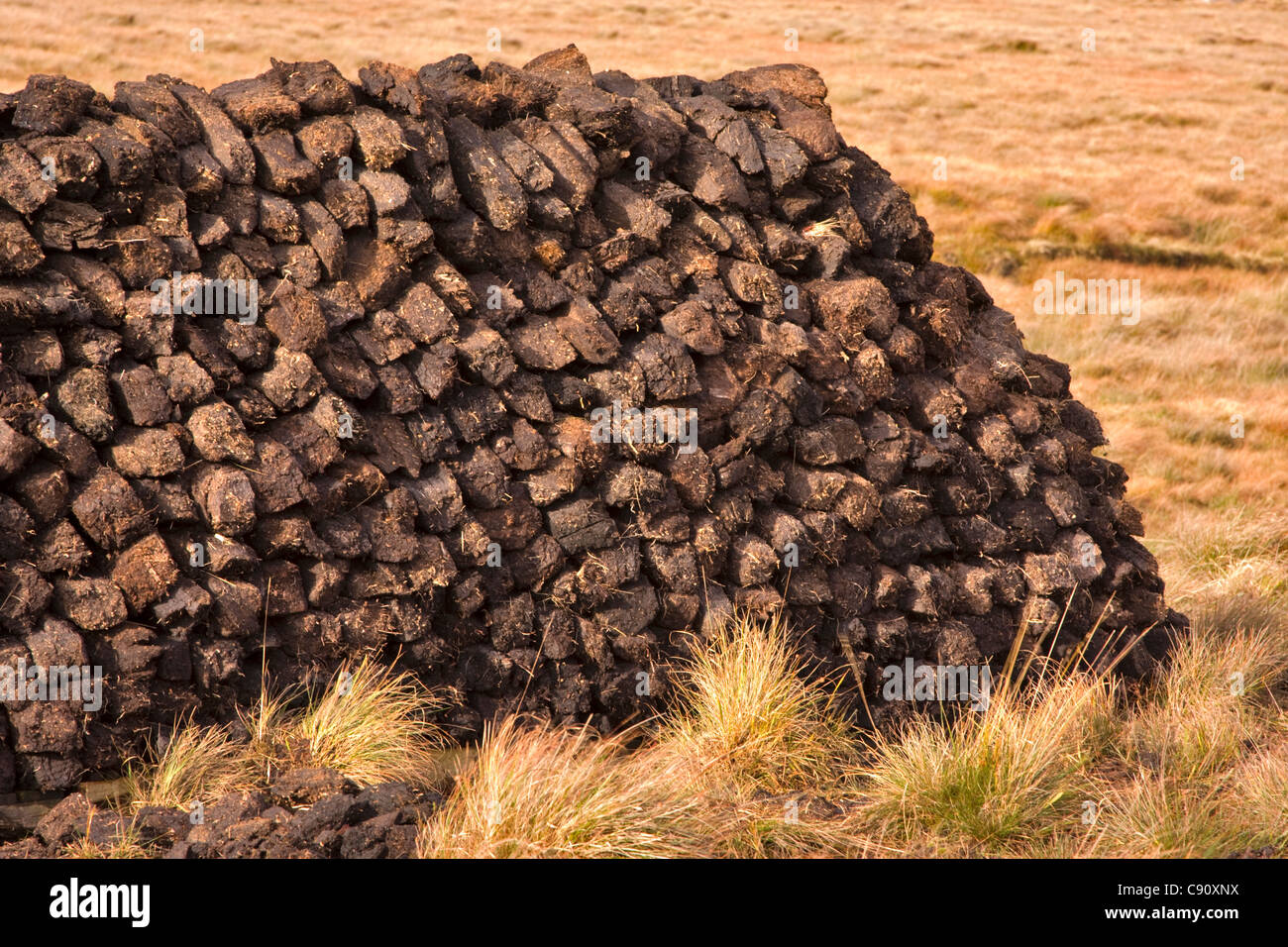 Peat turves stacked for drying in Connemara, Ireland - Stock Image