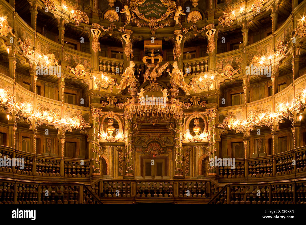 Interior view of Margrave's Opera House, a Baroque opera house, Bayreuth, Bavaria, Germany, Europe - Stock Image