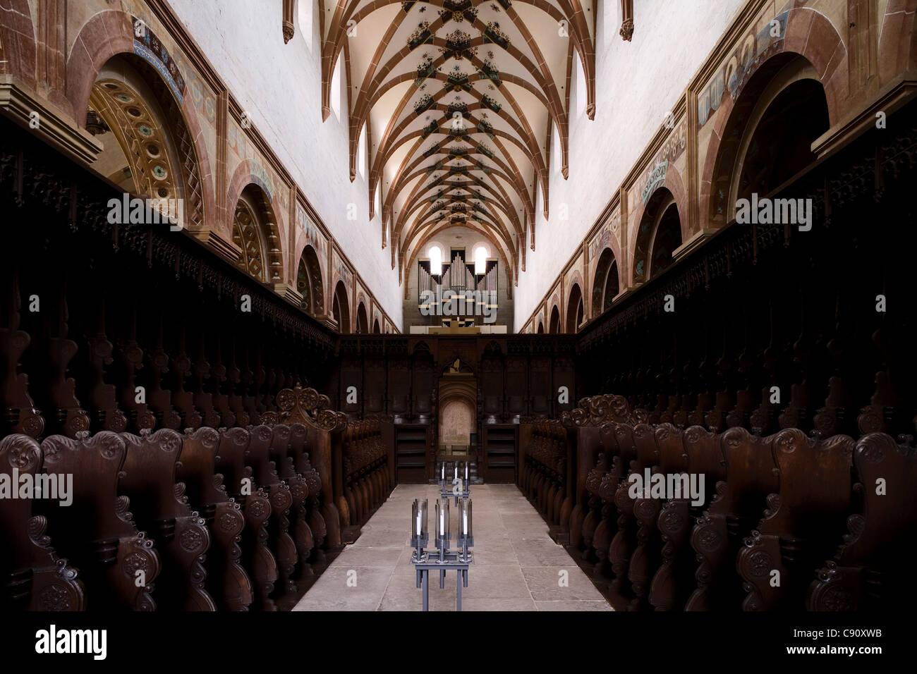 Gothic choir stalls at Maulbronn monastery, Cistercian monastery, Baden-Wuerttemberg, Germany, Europe Stock Photo